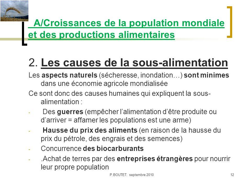 A/Croissances de la population mondiale et des productions alimentaires 2. Les causes de la sous-alimentation Les aspects naturels (sécheresse, inonda