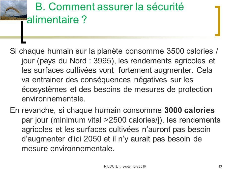 Si chaque humain sur la planète consomme 3500 calories / jour (pays du Nord : 3995), les rendements agricoles et les surfaces cultivées vont fortement