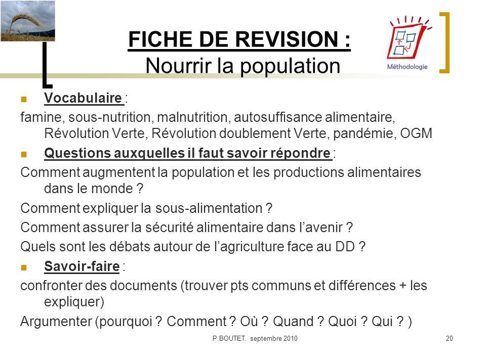 FICHE DE REVISION : Nourrir la population Vocabulaire : famine, sous-nutrition, malnutrition, autosuffisance alimentaire, Révolution Verte, Révolution