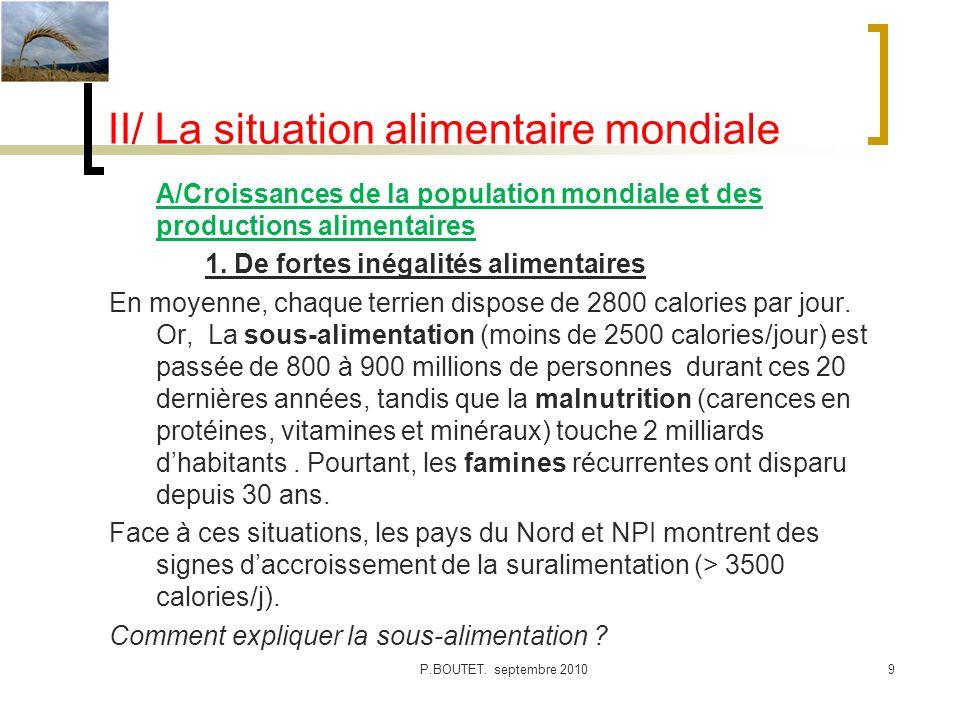 II/ La situation alimentaire mondiale A/Croissances de la population mondiale et des productions alimentaires 1. De fortes inégalités alimentaires En