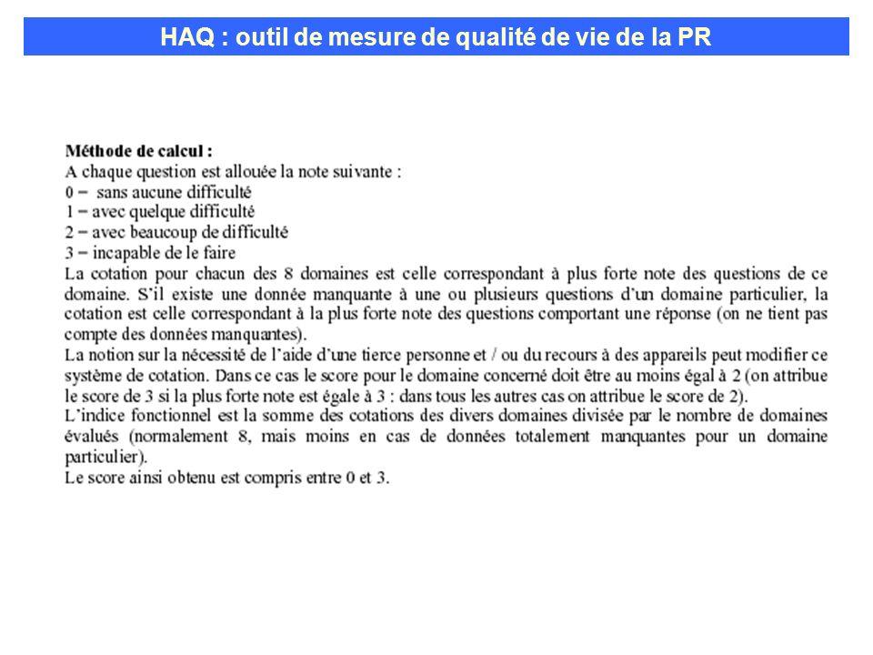 Indice fonctionnel HAQ HAQ : outil de mesure de qualité de vie de la PR