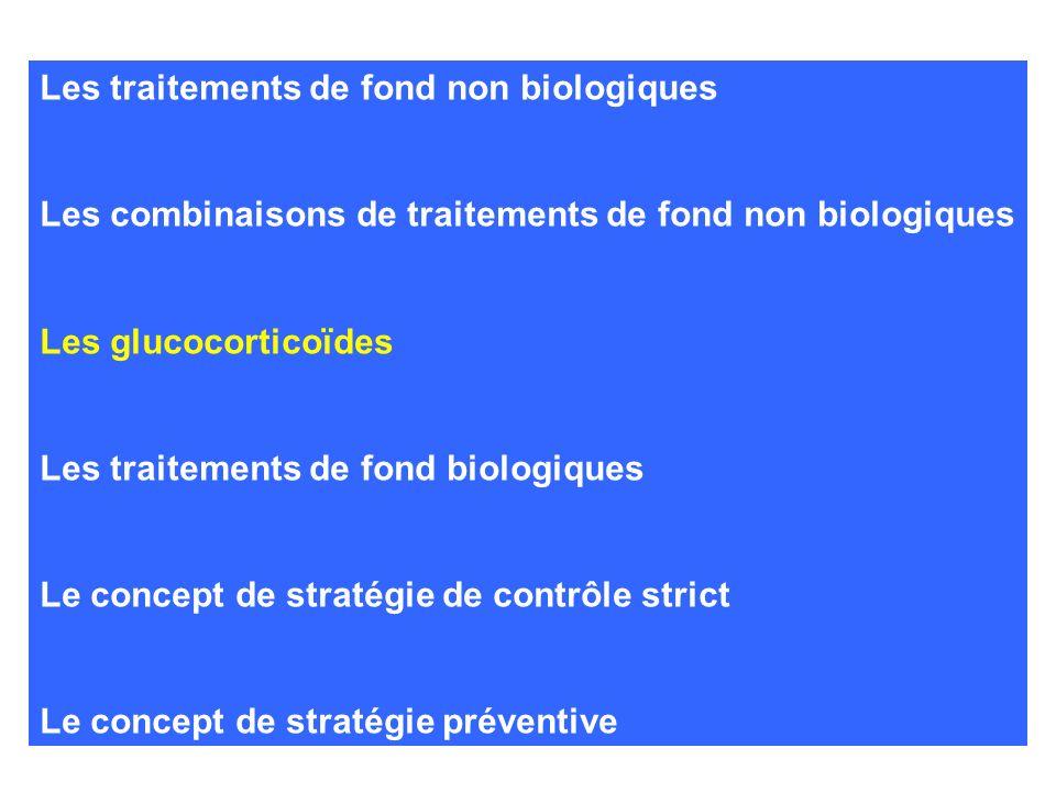 Les traitements de fond non biologiques Les combinaisons de traitements de fond non biologiques Les glucocorticoïdes Les traitements de fond biologiqu