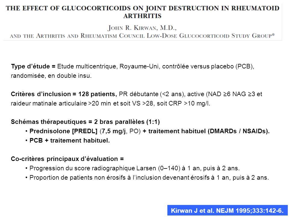 Kirwan J et al. NEJM 1995;333:142-6. Type détude = Etude multicentrique, Royaume-Uni, contrôlée versus placebo (PCB), randomisée, en double insu. Crit