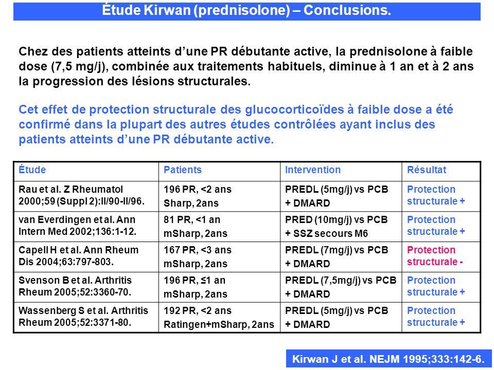 Étude Kirwan (prednisolone) – Conclusions. Chez des patients atteints dune PR débutante active, la prednisolone à faible dose (7,5 mg/j), combinée aux
