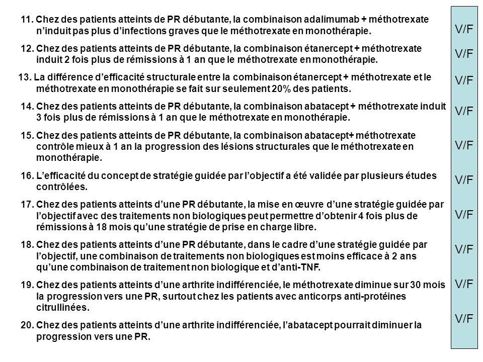 11. Chez des patients atteints de PR débutante, la combinaison adalimumab + méthotrexate ninduit pas plus dinfections graves que le méthotrexate en mo