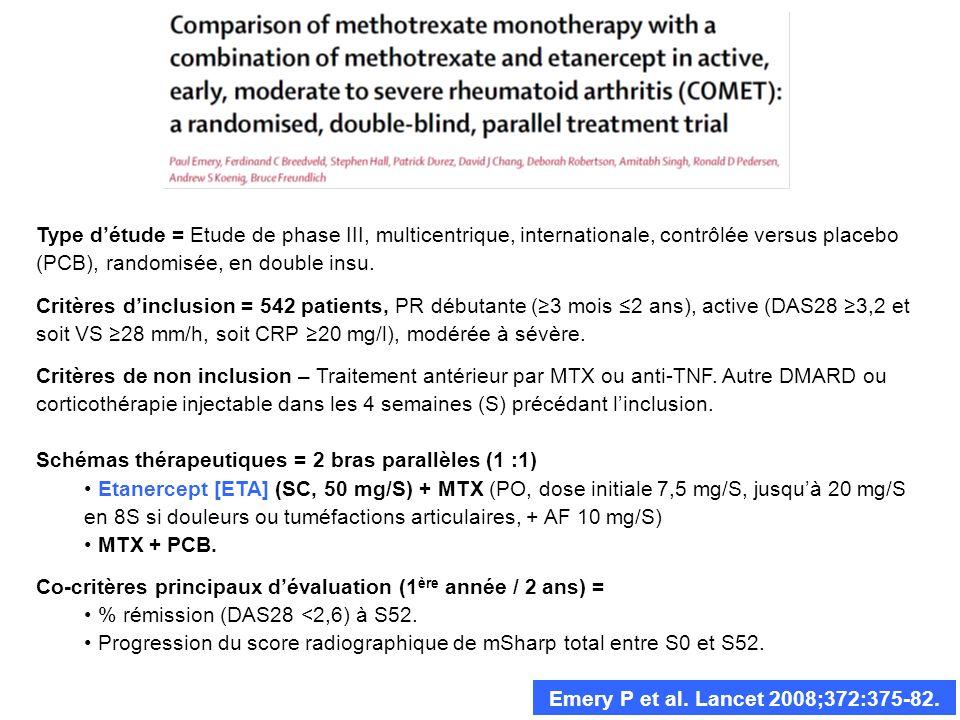 Emery P et al. Lancet 2008;372:375-82. Type détude = Etude de phase III, multicentrique, internationale, contrôlée versus placebo (PCB), randomisée, e