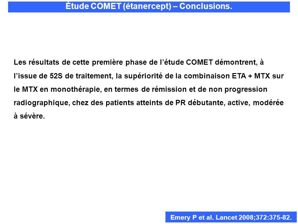 Les résultats de cette première phase de létude COMET démontrent, à lissue de 52S de traitement, la supériorité de la combinaison ETA + MTX sur le MTX