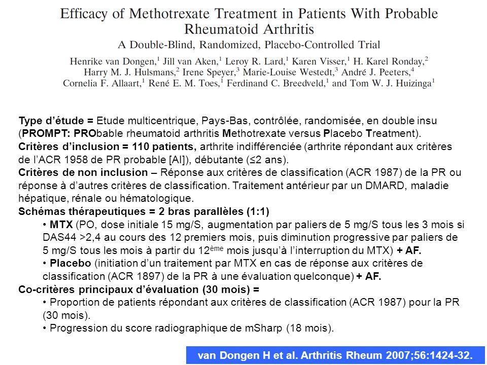 van Dongen H et al. Arthritis Rheum 2007;56:1424-32. Type détude = Etude multicentrique, Pays-Bas, contrôlée, randomisée, en double insu (PROMPT: PROb
