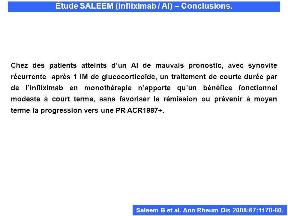 Étude SALEEM (infliximab / AI) – Conclusions. Chez des patients atteints dun AI de mauvais pronostic, avec synovite récurrente après 1 IM de glucocort