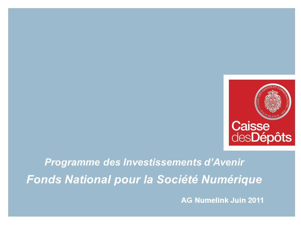 Programme des Investissements dAvenir Fonds National pour la Société Numérique AG Numelink Juin 2011