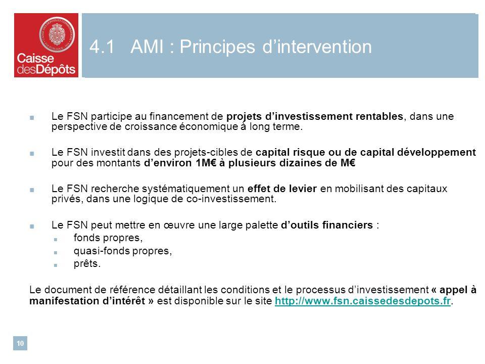 10 Le FSN participe au financement de projets dinvestissement rentables, dans une perspective de croissance économique à long terme.