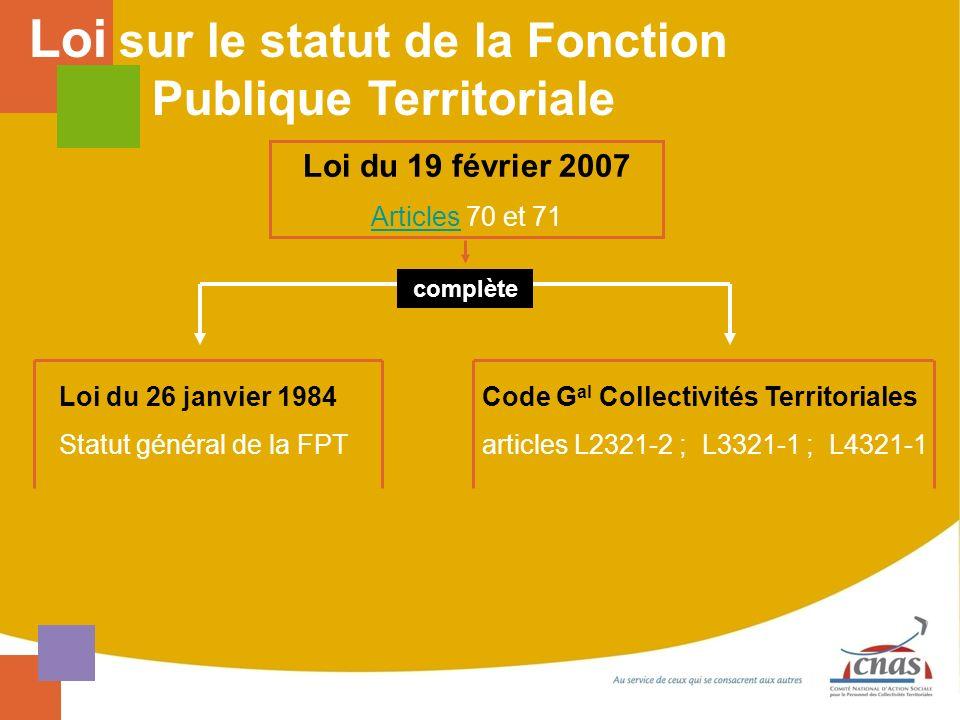 Loi du 19 février 2007 ArticlesArticles 70 et 71 Loi du 26 janvier 1984 Statut général de la FPT Code G al Collectivités Territoriales articles L2321-