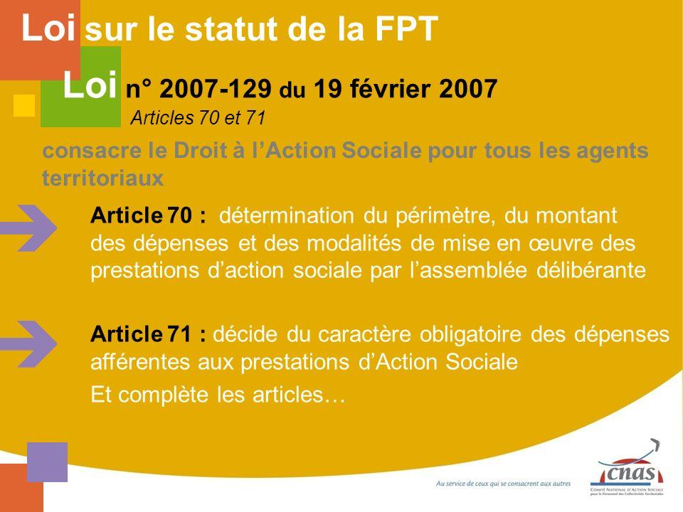 consacre le Droit à lAction Sociale pour tous les agents territoriaux Article 70 : détermination du périmètre, du montant des dépenses et des modalité