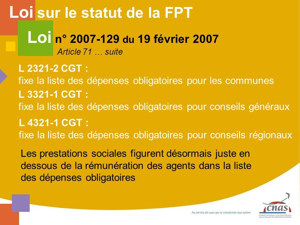Loi sur le statut de la FPT Loi n° 2007-129 du 19 février 2007 Article 71 … suite L 2321-2 CGT : fixe la liste des dépenses obligatoires pour les comm