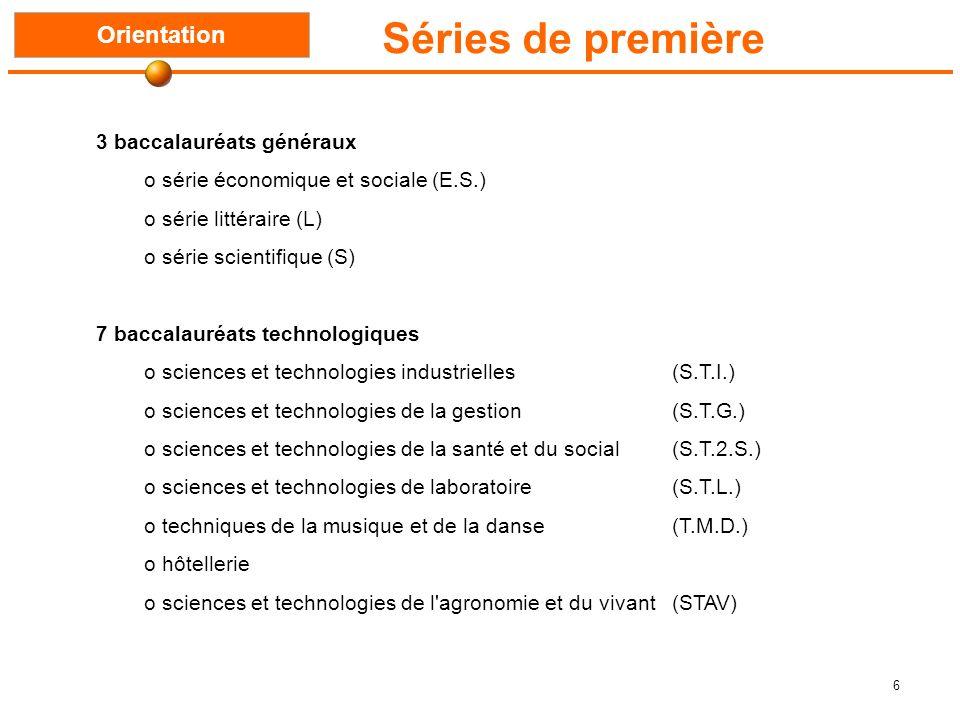 6 Séries de première Orientation 3 baccalauréats généraux o série économique et sociale (E.S.) o série littéraire (L) o série scientifique (S) 7 baccalauréats technologiques o sciences et technologies industrielles (S.T.I.) o sciences et technologies de la gestion (S.T.G.) o sciences et technologies de la santé et du social (S.T.2.S.) o sciences et technologies de laboratoire (S.T.L.) o techniques de la musique et de la danse (T.M.D.) o hôtellerie o sciences et technologies de l agronomie et du vivant (STAV)