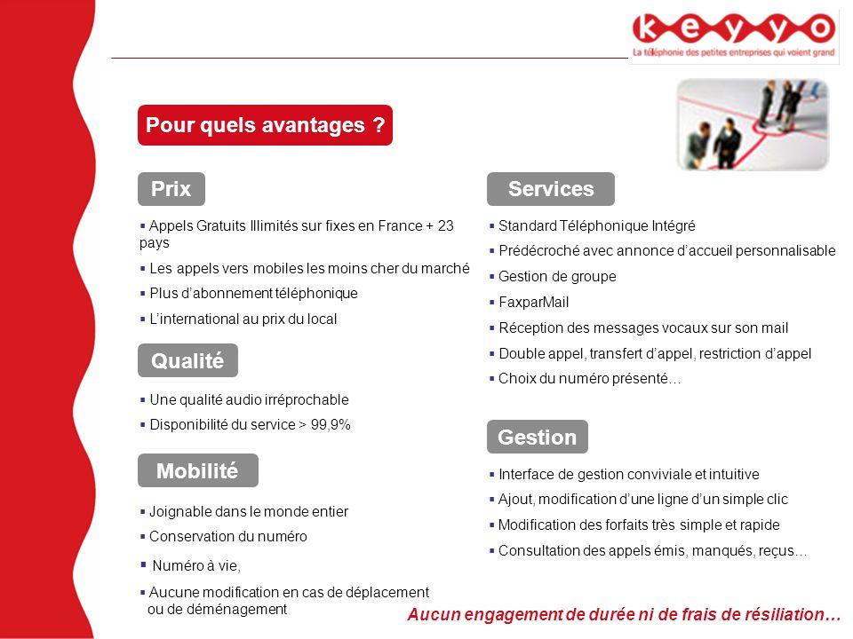 Pour quels avantages ? Prix Qualité Services Mobilité Gestion Appels Gratuits Illimités sur fixes en France + 23 pays Les appels vers mobiles les moin