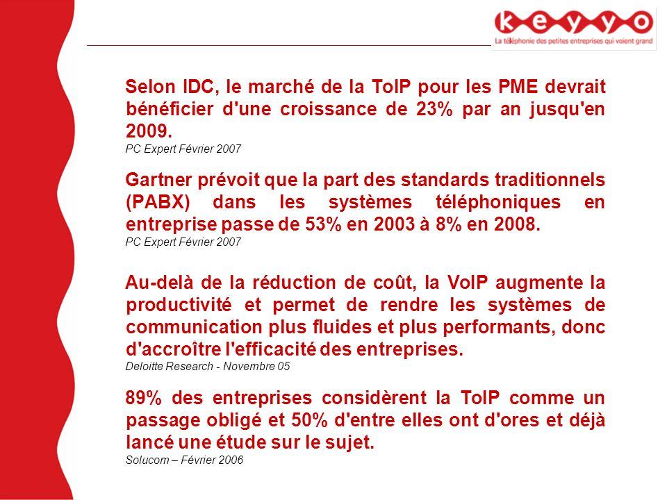 Selon IDC, le marché de la ToIP pour les PME devrait bénéficier d'une croissance de 23% par an jusqu'en 2009. PC Expert Février 2007 Gartner prévoit q