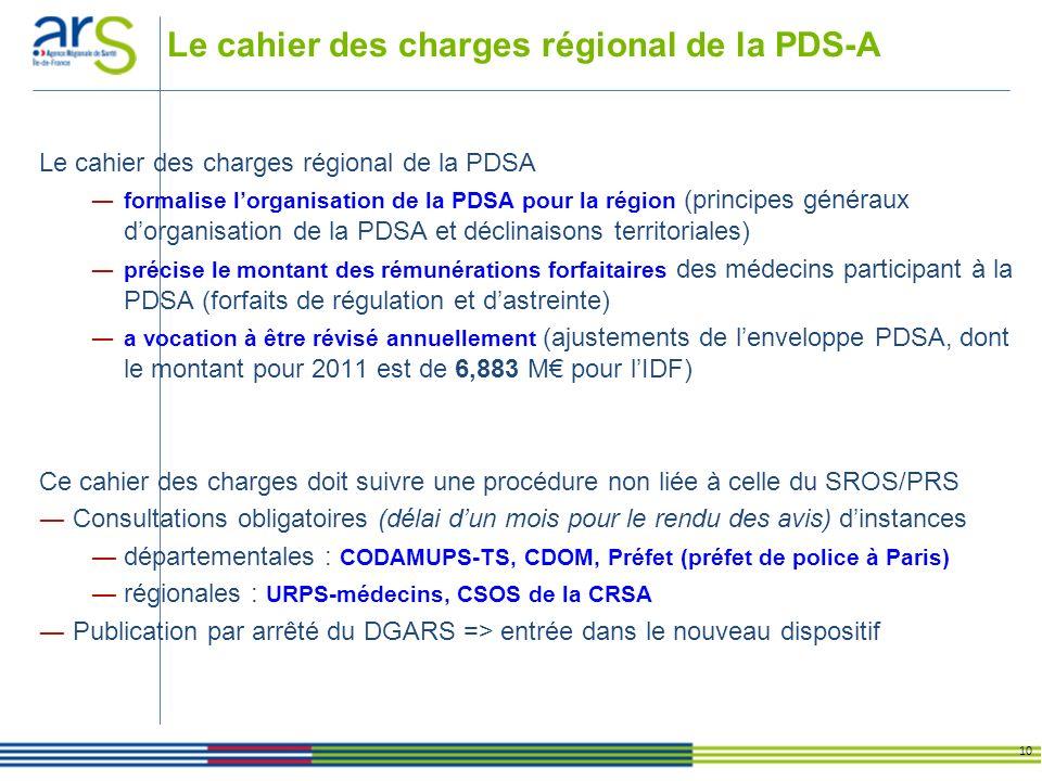 Le cahier des charges régional de la PDS-A 10 Le cahier des charges régional de la PDSA formalise lorganisation de la PDSA pour la région (principes g