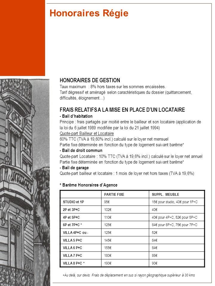 Honoraires Régie HONORAIRES DE GESTION Taux maximum : 8% hors taxes sur les sommes encaissées. Tarif dégressif et aménagé selon caractéristiques du do