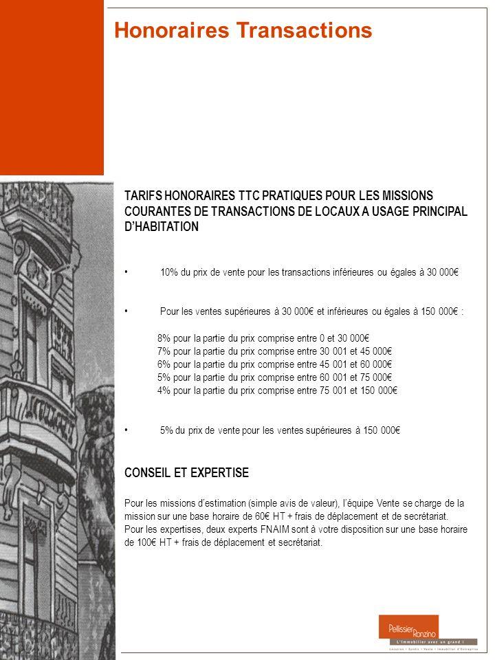 Honoraires Transactions TARIFS HONORAIRES TTC PRATIQUES POUR LES MISSIONS COURANTES DE TRANSACTIONS DE LOCAUX A USAGE PRINCIPAL DHABITATION 10% du pri
