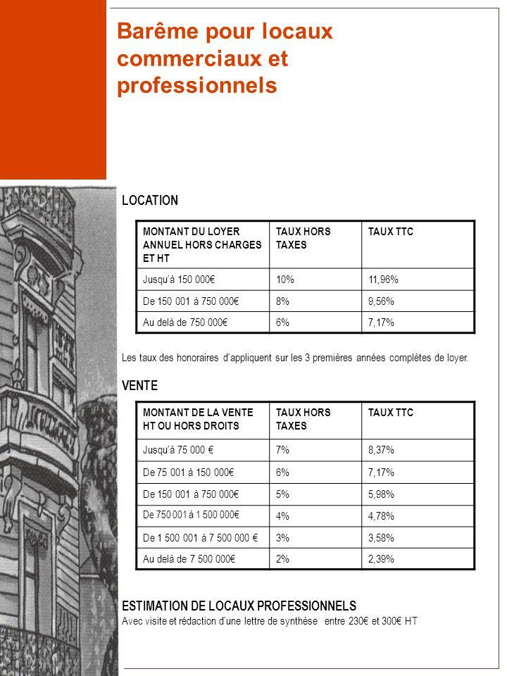 Barême pour locaux commerciaux et professionnels LOCATION Les taux des honoraires dappliquent sur les 3 premières années complètes de loyer. VENTE EST