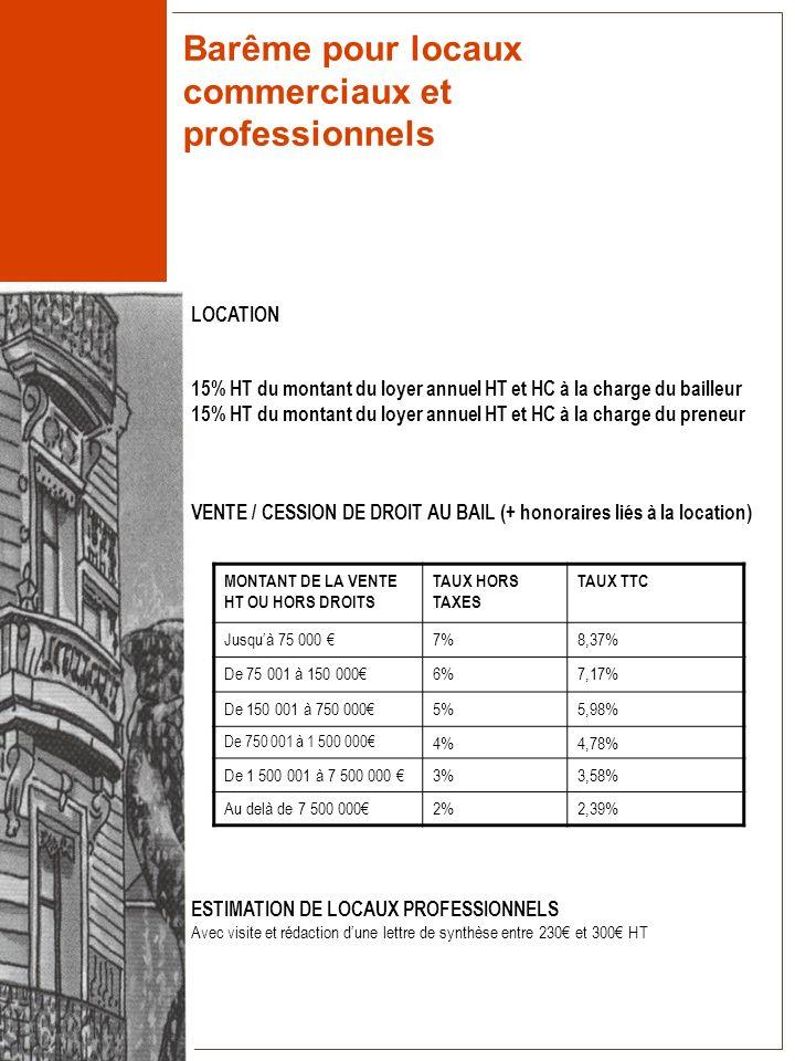 Barême pour locaux commerciaux et professionnels LOCATION 15% HT du montant du loyer annuel HT et HC à la charge du bailleur 15% HT du montant du loye