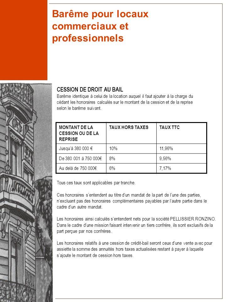 Barême pour locaux commerciaux et professionnels CESSION DE DROIT AU BAIL Barême identique à celui de la location auquel il faut ajouter à la charge d