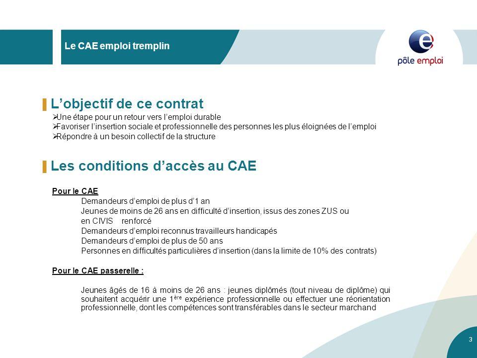4 Le CAE emploi tremplin Les modalités du CAE CDD de 6 mois minimum renouvelable 2 fois dans la limite de 24 mois maximum Durée de travail de 20h hebdomadaires minimum, sauf difficultés particulières du bénéficiaire.