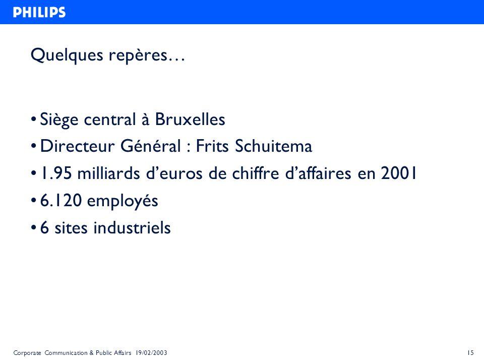 15Corporate Communication & Public Affairs 19/02/2003 Quelques repères… Siège central à Bruxelles Directeur Général : Frits Schuitema 1.95 milliards d