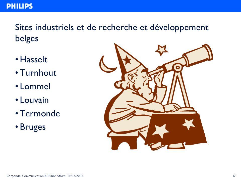 17Corporate Communication & Public Affairs 19/02/2003 Sites industriels et de recherche et développement belges Hasselt Turnhout Lommel Louvain Termon