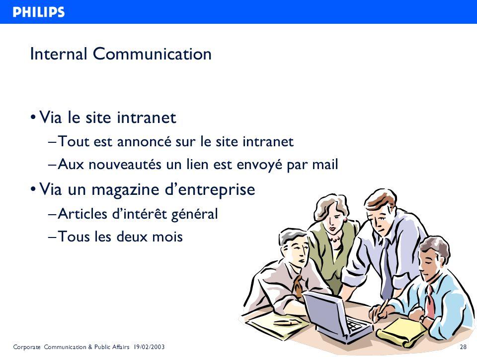 28Corporate Communication & Public Affairs 19/02/2003 Internal Communication Via le site intranet – Tout est annoncé sur le site intranet – Aux nouvea