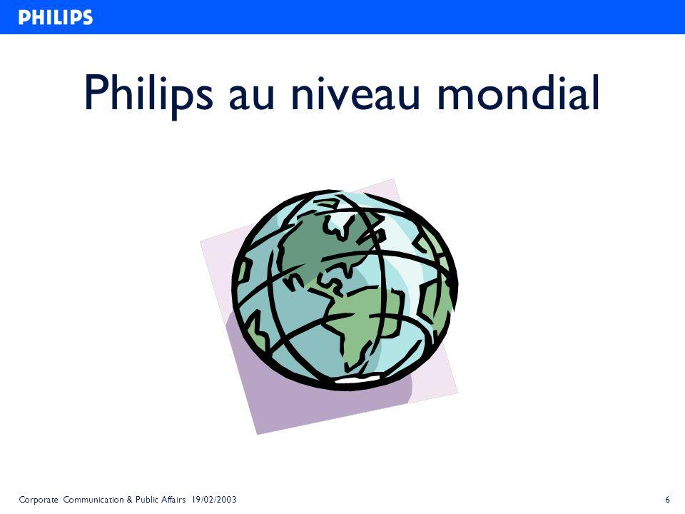 18Corporate Communication & Public Affairs 19/02/2003 Les Relations Publiques de Philips Belgique/Luxembourg Corporate Communication Product Communication Internal Communication