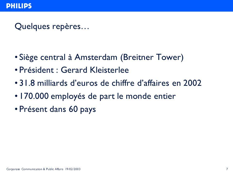 7Corporate Communication & Public Affairs 19/02/2003 Quelques repères… Siège central à Amsterdam (Breitner Tower) Président : Gerard Kleisterlee 31.8