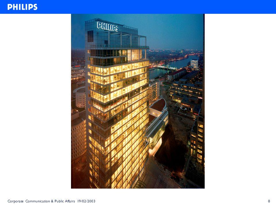 9 Les Relations Publiques de Philips au niveau mondial Corporate Communication Product Communication Internal Communication
