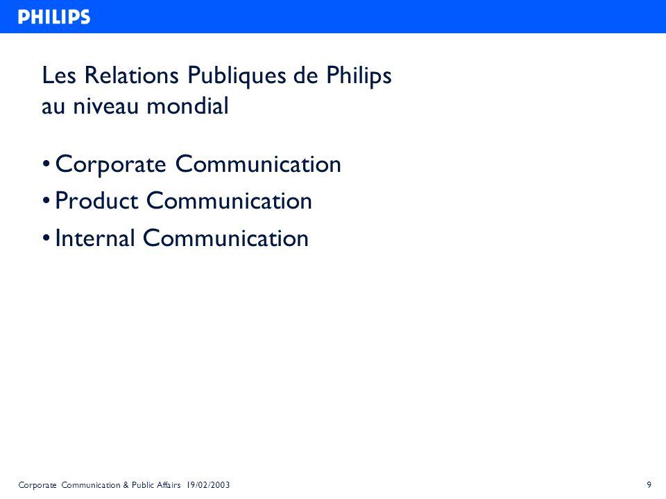 10Corporate Communication & Public Affairs 19/02/2003 Corporate Communication Siège central : Amsterdam Entretenir limage de Philips – La brochure de Philips et le rapport annuel – Les interviews du Président G.