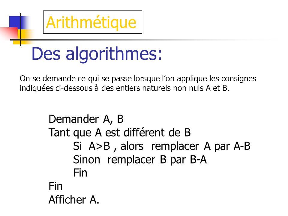 Des algorithmes: On se demande ce qui se passe lorsque lon applique les consignes indiquées ci-dessous à des entiers naturels non nuls A et B. Demande