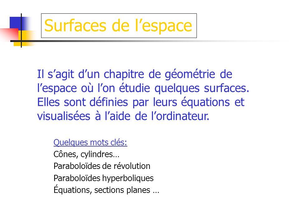 Surfaces de lespace Il sagit dun chapitre de géométrie de lespace où lon étudie quelques surfaces. Elles sont définies par leurs équations et visualis