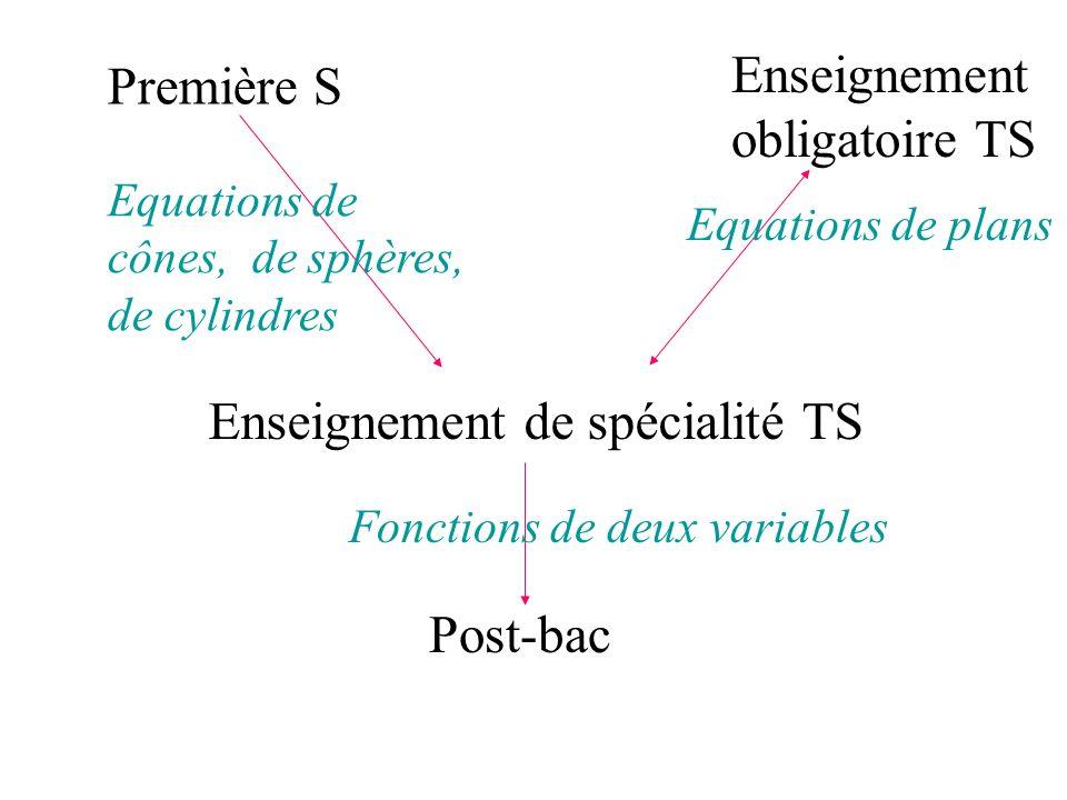 Enseignement obligatoire TS Enseignement de spécialité TS Première S Post-bac Equations de cônes, de sphères, de cylindres Equations de plans Fonction