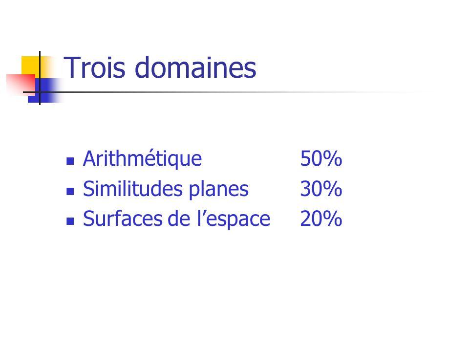 Trois domaines Arithmétique50% Similitudes planes30% Surfaces de lespace20%