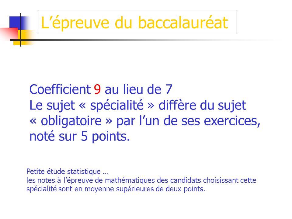 Lépreuve du baccalauréat Petite étude statistique... les notes à lépreuve de mathématiques des candidats choisissant cette spécialité sont en moyenne
