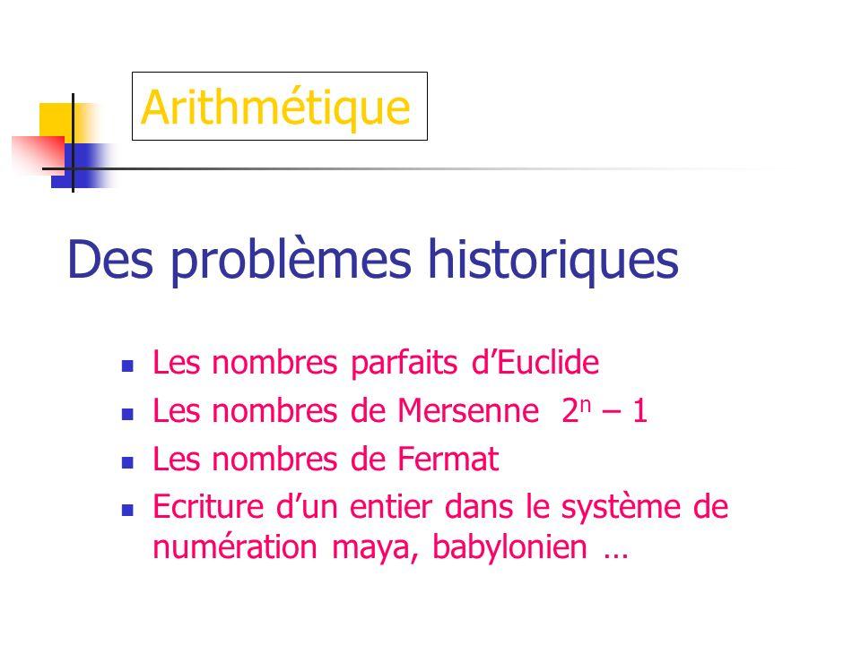 Des problèmes historiques Les nombres parfaits dEuclide Les nombres de Mersenne 2 n – 1 Les nombres de Fermat Ecriture dun entier dans le système de n