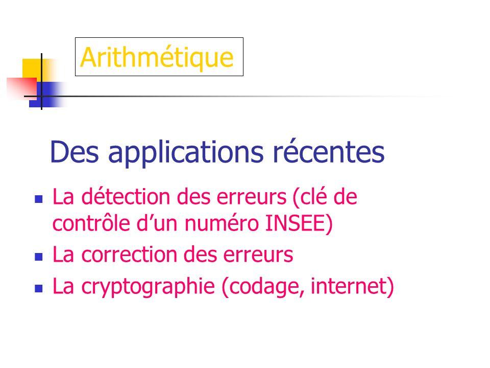 Des applications récentes La détection des erreurs (clé de contrôle dun numéro INSEE) La correction des erreurs La cryptographie (codage, internet) Ar