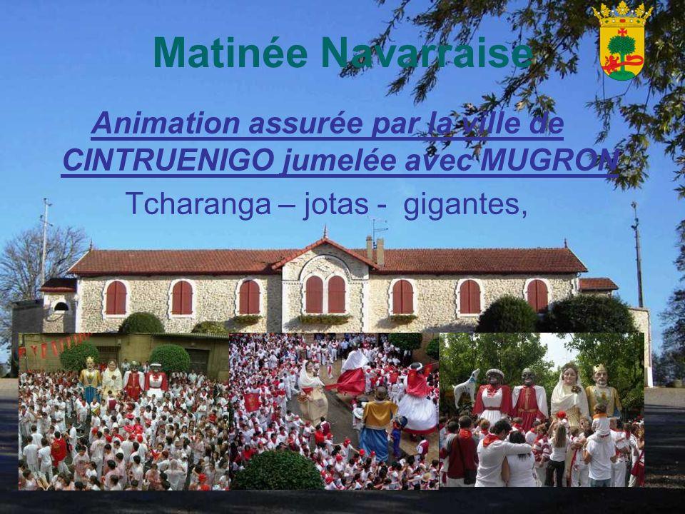 Matinée Navarraise Animation assurée par la ville de CINTRUENIGO jumelée avec MUGRON Tcharanga – jotas - gigantes,