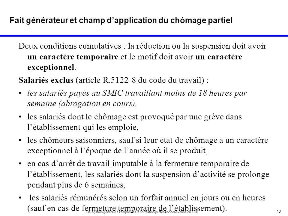 10 Délégation générale à lemploi et à la formation professionnelle - mission FNE Deux conditions cumulatives : la réduction ou la suspension doit avoi
