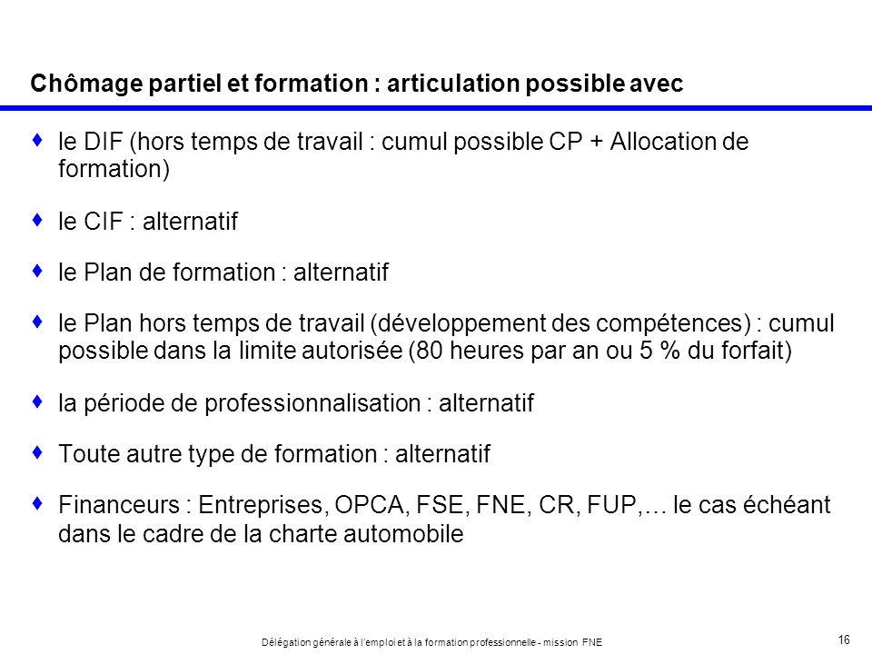 16 Délégation générale à lemploi et à la formation professionnelle - mission FNE Chômage partiel et formation : articulation possible avec le DIF (hor
