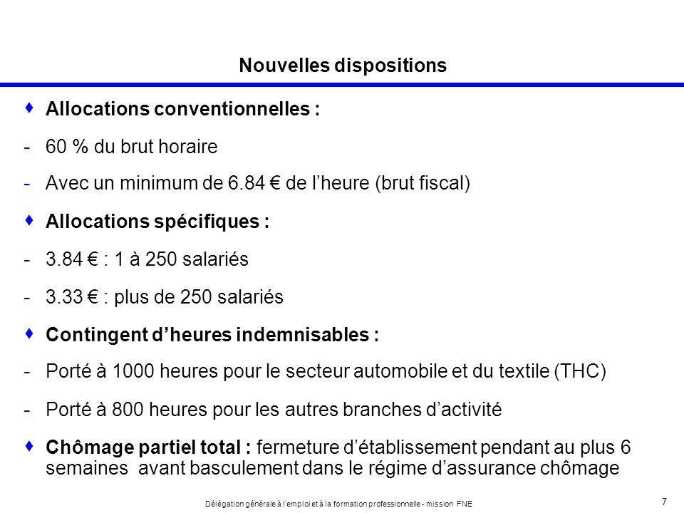 8 Délégation générale à lemploi et à la formation professionnelle - mission FNE Chômage partiel après lintervention de lANI et de la revalorisation du chômage partiel pour un salarié rémunéré au SMIC Allocation spécifique - 3.84 pour les ent.
