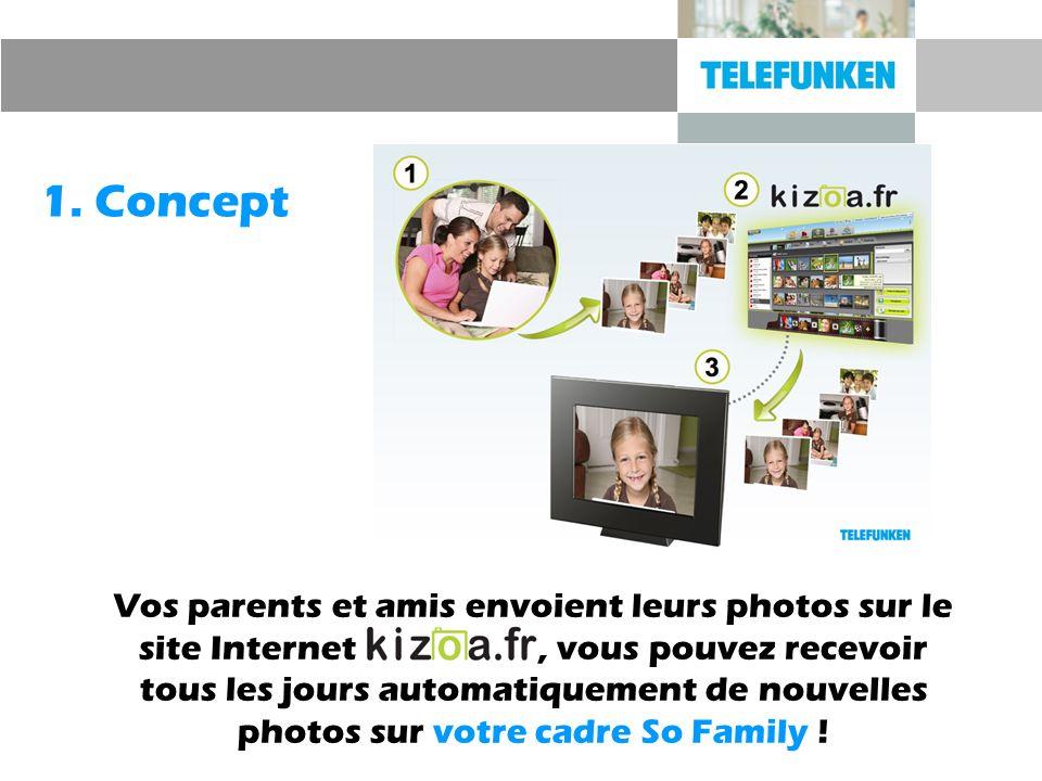 1. Concept Vos parents et amis envoient leurs photos sur le site Internet, vous pouvez recevoir tous les jours automatiquement de nouvelles photos sur