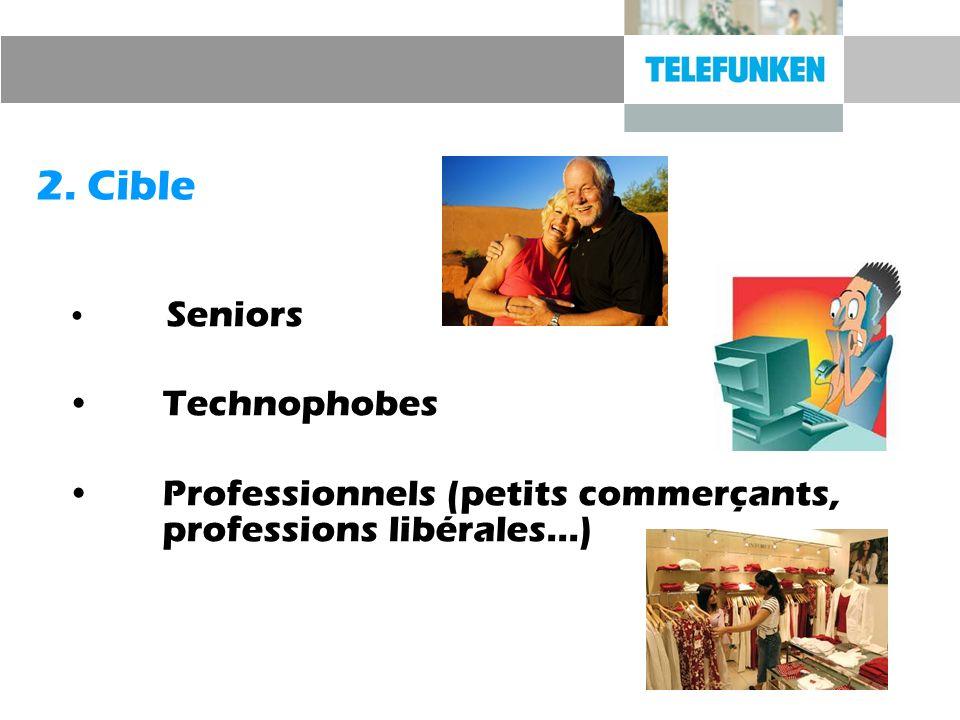 2. Cible Seniors Technophobes Professionnels (petits commerçants, professions libérales…)
