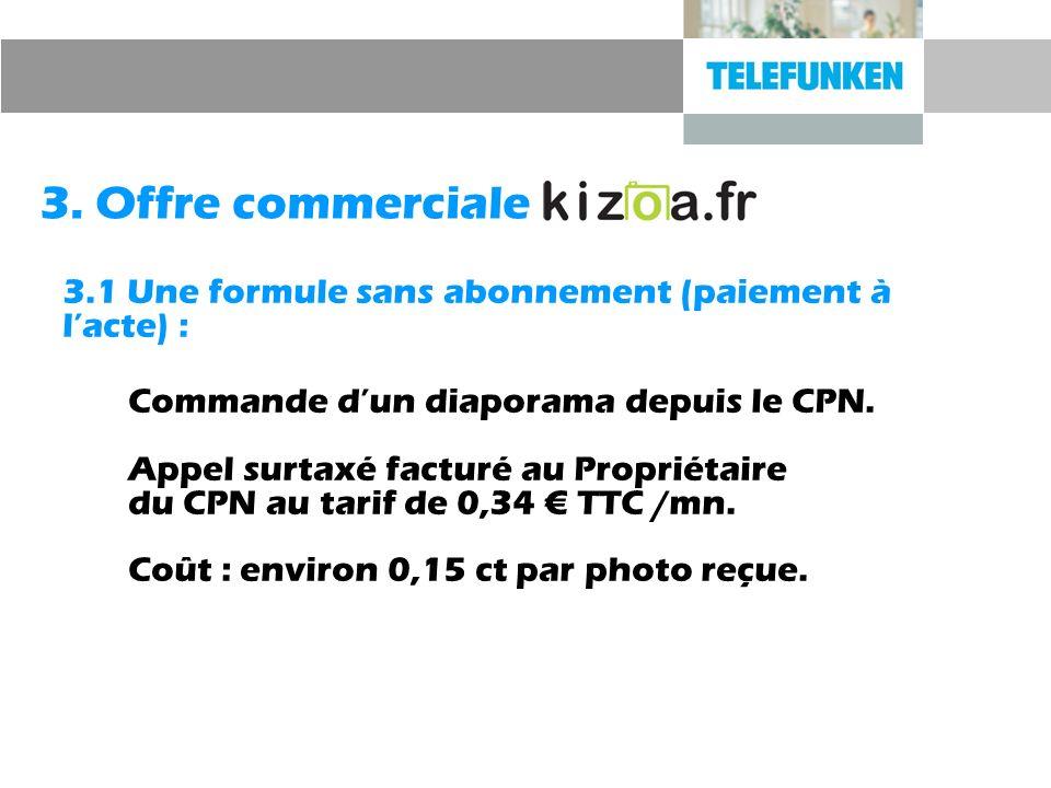 3. Offre commerciale 3.1 Une formule sans abonnement (paiement à lacte) : Commande dun diaporama depuis le CPN. Appel surtaxé facturé au Propriétaire
