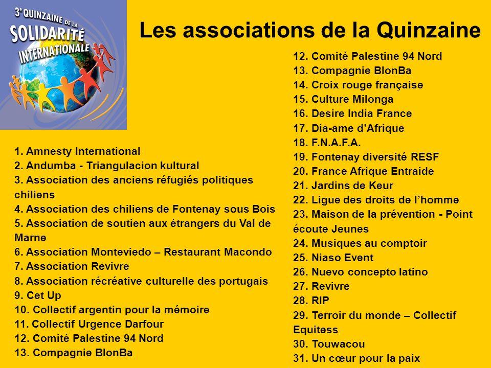 Les associations de la Quinzaine 1. Amnesty International 2.